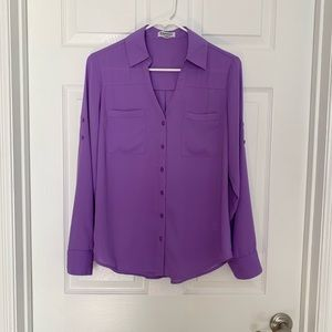 Two pockets Portofino Express Purple Blouse Sz SP